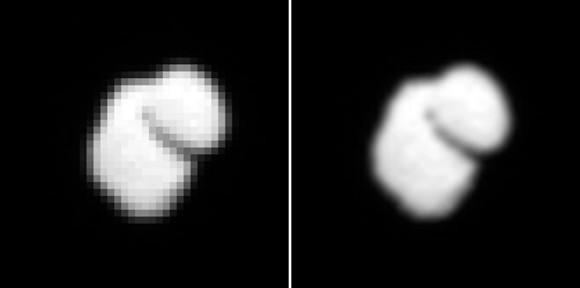 Αριστερά η πρώτη εικόνα του κομήτη και δεξιά η ίσια εικόνα μετά από επεξεργασία  Credit: ESA / Rosetta / MPS για OSIRIS Team MPS / UPD / LAM / ΙΑΑ / SSO / INTA / UPM / DASP / IDA