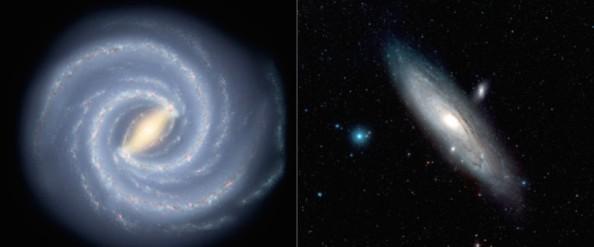 Eρευνητές απέδειξαν ότι ο Γαλαξίας μας (αριστερά - καλλιτεχνική απόδοση) έχει την μισή μάζα σε σχέση με τον γαλαξία Ανδρομέδα (δεξιά) (Credit: Milky Way: NASA/JPL-Caltech / Andromeda image: ESA/Hubble & Digitized Sky Survey 2, Davide De Martin)