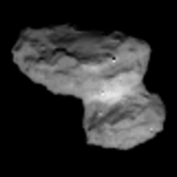 Eπεξεργασμένο τμήμα της προηγούμενης εικόνας του κομήτη 67P/Churyumov-Gerasimenko, που δείχνει τον πυρήνα του κομήτη. Credits: ESA / Rosetta / NAVCAM