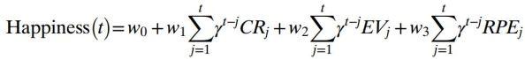 Το μέγεθος της ευτυχίας υπολογίζεται συναρτήσει των μεγεθών CRs (Certain Rewards) , ΕVs (Expected Values) και PREs (Reward Prediction Errors) http://www.pnas.org/content/suppl/2014/07/31/1407535111.DCSupplemental/pnas.201407535SI.pdf#nameddest=STXT