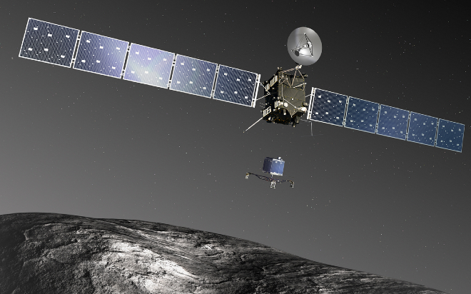 Artist's rendering of Rosetta and Lander. Image:ESA-C. Carreau/ATG medialab