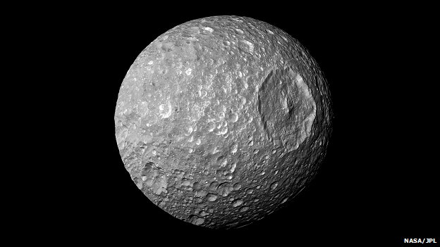 The enormous Herschel Crater makes Mimas look rather like the Death Star space station from Star Wars