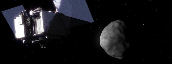 Μια καλλιτεχνική άποψη της προσέγγισης του διαστημικού σκάφους της NASA, OSIRIS-REx, στον αστεροειδή Bennu