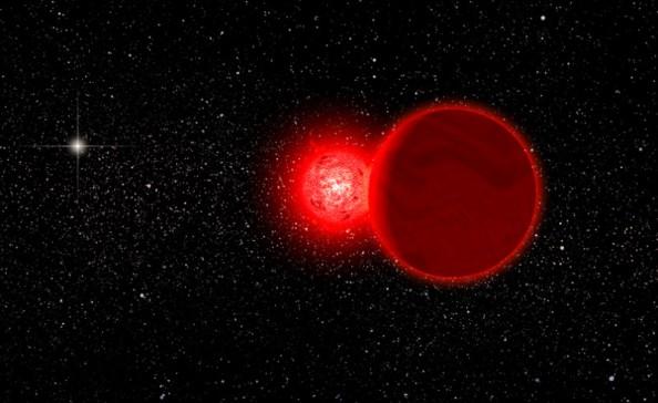Καλλιτεχνική άποψη του άστρου του Scholz - πρόκειται για ερυθρό νάνο - μαζί με τον συνοδό, έναν καφέ νάνο