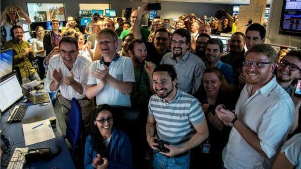 The CMS experiment team celebrated when the first collisions occurred