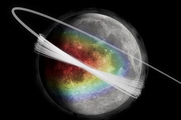 Καλλιτεχνική απεικόνιση στην εξώσφαιρα της Σελήνης (λεπτή ατμόσφαιρα). Το χρώμα δείχνει την ποσότητα του υλικού που εκτινάσσεται από την επιφάνεια, με το κόκκινο να παριστάνει την υψηλότερη ποσότητα.