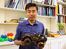 Xudong Wang has developed a new way to harvest energy from rolling tires. Courtesy of the College of Engineering