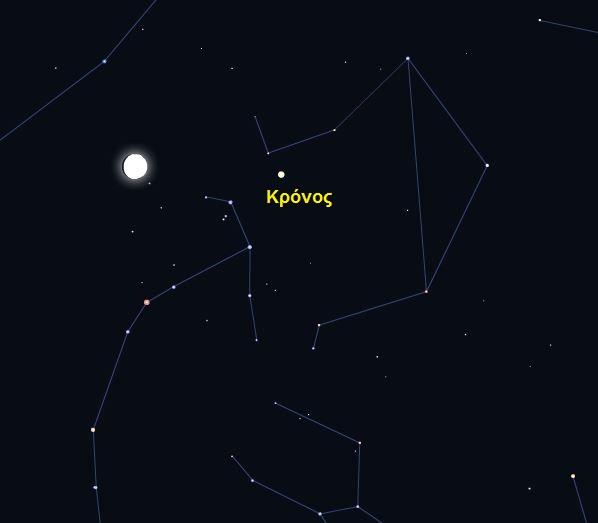 Σήμερα 29-6-2015, ώρα 10:15 O πλανήτης Kρόνος κοντά στη Σελήνη
