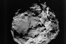 Comet 67P/Churyumov-Gerasimenko, in a pictures taken during Philae's descent by the ROLIS instrument on board the lander. This view is of the surface from approximately 3 km away. Photograph: ESA