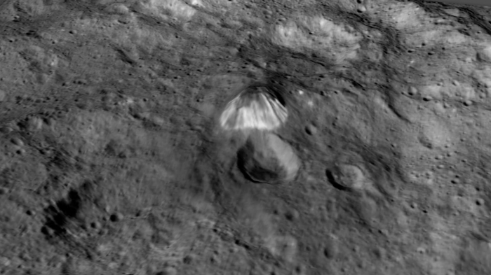 Among the highest features seen on Ceres so far is a mountain about 4 miles (6 kilometers) high
