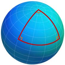 Στην Σφαιρική Γεωμετρία το άθροισμα των γωνιών ενός τριγώνου είναι μεγαλύτερη από 180 μοίρες