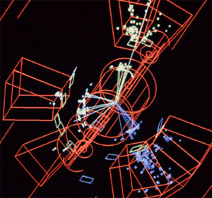 Φωτογραφία που έχει ληφθεί στον LEP, τον επιταχυντή ο οποίος λειτούργησε στο CERN κατά τη δεκαετία του 1990. Οι πίδακες σωματιδίων που αναδύονται από αυτές τις συγκρούσεις ακολουθούν τα θεωρητικώς προβλεπόμενα μοτίβα ροής για ένα κουάρκ, ένα αντικουάρκ και ένα γλοιόνιο. Οι πίδακες δίνουν λειτουργικό νόημα σε αυτές τις οντότητες, οι οποίες δεν μπορούν να παρατηρηθούν με τη συνήθη έννοια, υπό μορφή σωματιδίων.