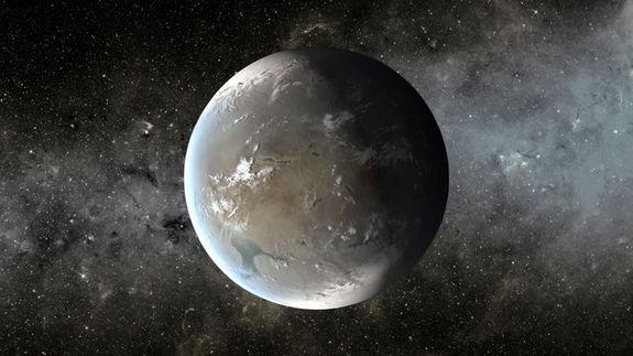 Καλλιτεχνική άποψη του εξωπλανήτη Kepler-62f που βρίσκεται σε τέτοια απόσταση από το άστρο τους, ώστε να είναι δυνατή η ανάπτυξη ζωής
