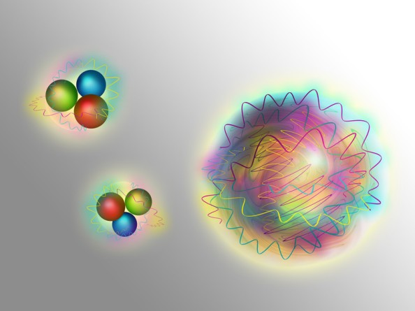 Nucleons consist (left) of quarks (matter particles) and gluons (force particles). A glueball (right) is made up purely of gluons