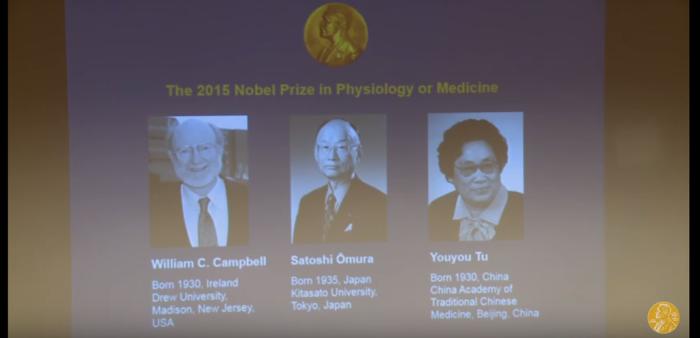 Οι βραβευθέντες με το Νόμπελ Ιατρικής-Φυσιολογίας 2015: William C. Campbell (1/4), Satoshi Ōmura (1/4) και Youyou Tu (1/2)