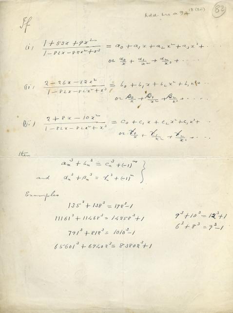 Η σελίδα από το σημειωματάριο του Ραμανουτζάν όπου ΄βρίσκονται οι αναπαραστάσεις του αριθμού 1729 ως άθροισμα κύβων