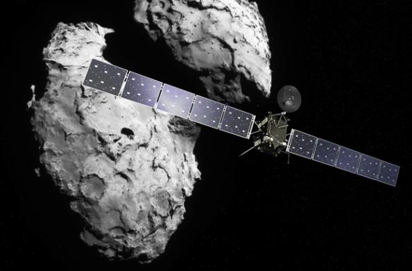 Καλλιταχνική άποψη του διαστημικού σκάφους Rosetta να πλησιάζει τον κομήτη 67P/Churyumov-Gerasimenko
