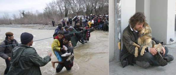 Migrants wade across a river near Greek-Macedonian border west of Idomeni