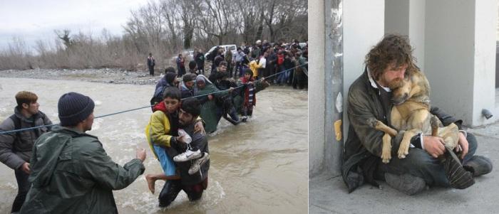 Migrants wade across a river near Greek-Macedonian border west of Idomeni