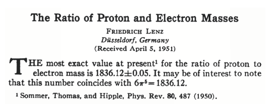 """The Ratio of Proton and Electron Masses"", Friedrich Lenz Phys. Rev. 82, 554"