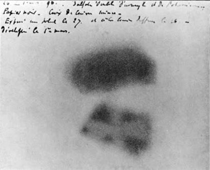 The first evidence for radioactivity – images formed by Becquerel's uranium salts (Image: Wikimedia Commons)