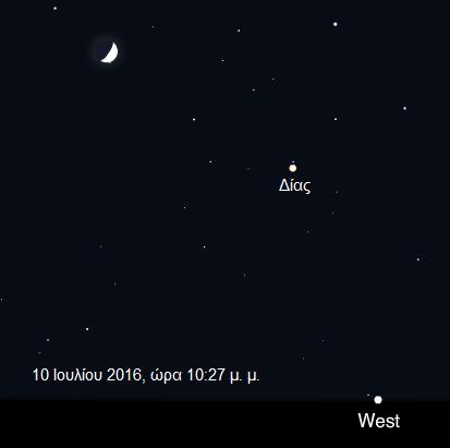 Αν κοιτάξετε απόψε το βράδυ στον ουρανό μπορείτε εύκολα να εντοπίσετε τον πλανήτη Δία κοντά στη Σελήνη.