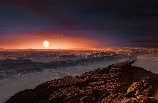 Καλλιτεχνική απεικόνιση της επιφάνειας του εξωπλανήτη Proxima b.