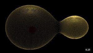 Μια προσομοίωση της σύγκρουσης του δυαδικού συστήματος KIC 9832227 που βρίσκεται σε απόσταση 1800 έτη φωτός από τη Γη. (L. Molnar / Calvin College)